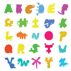 Colourful cartoon alphabet