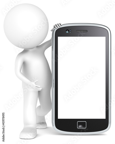 Blank Smart Phone. 3D little human character. People series.