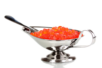 Red caviar in silver bowl isolated on white