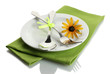 spoon, fork and flower on plate, isolated on white