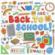 Back to School Classroom Supplies Doodle Vector Design