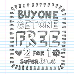 Sale Discount Store Shopping Sketchy Doodles Vector