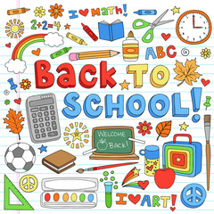 Back to School Classroom Supplies Doodle Vector Design