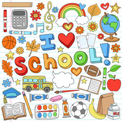 I Love School Back to School Supplies Doodle Vector Design