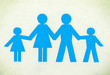 Drawn family of blue isolated