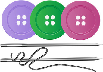 Needle and thread,buttons,vector
