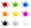 Set of color inkblots