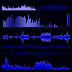 Sound waves set. Music background. EPS 8