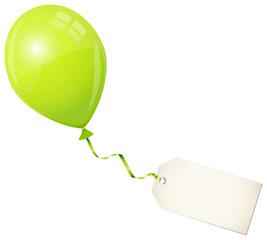 Flying Green Balloon & Beige Label