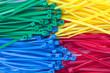 Assortment of colorful plastic cable ties  (zip ties, tie-wraps)