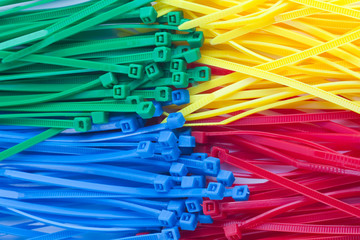 Assortment of colorful plastic cable ties  (zip ties, tie-wraps)