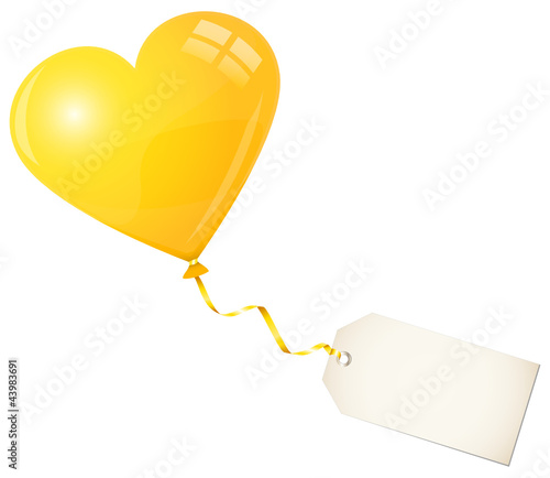 Flying Yellow Heart Balloon & Beige Label
