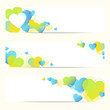 3 Abstract Heart Banner Blue/Green/Yellow