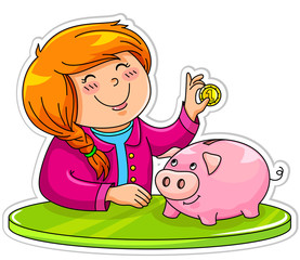 little girl putting a coin in her piggy bank