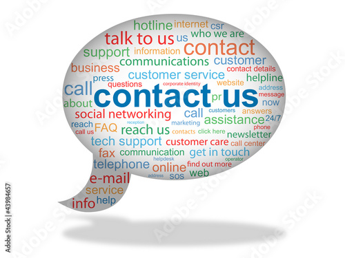 CONTACT US tag cloud (speech bubble telephone marketing)