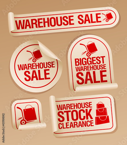 Warehouse sale stickers with hand truck