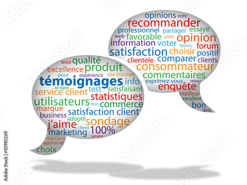 Nuage de Tags TEMOIGNAGES (j'aime marketing avis satisfaction)