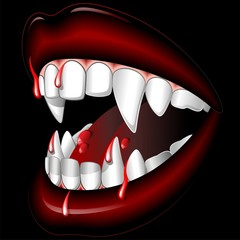 Halloween Vampire Mouth with Blood-Bocca di Vampiro-Vector