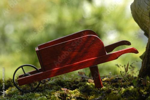 wooden wheelbarrow
