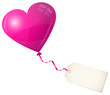 Flying Pink Heart Balloon & Beige Label