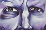 Fondo, graffiti de hombre, arte urbano