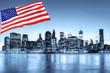 New York skyline et drapeau des Etats-Unis.