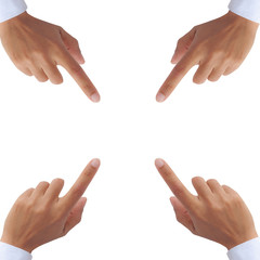 four hands pointing screen isolated on white