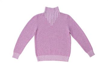 Шерстяной сиреневый свитер.