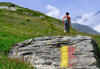 marcheur,randonneur en montagne