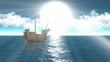 sailing ship Through sun rays