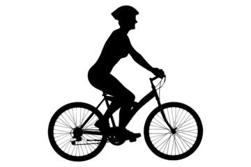 A silhouette of a female biker with helmet sitting on a bike
