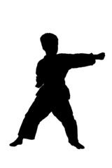 A silhouette of a full length portrait of a karate child exercis