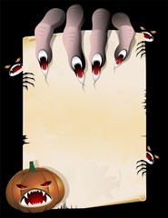 Monster Hand holding Vintage Halloween Poster-Mano e Pergamena
