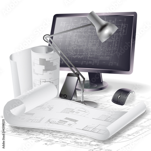 Architectural background with a monitor