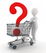 man rolls shopping cart with question mark inwardly