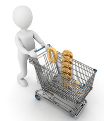 person rolls shopping cart with sign of percentage inwardly