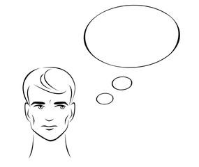 Иллюстрация размышляющего мужчины