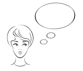 Иллюстрация размышляющей молодой женщины.