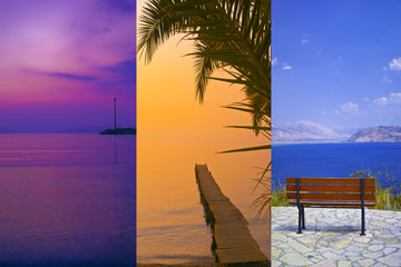 Collage of Greece corfu travel images nature