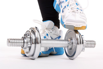 Shoes with dumbbell