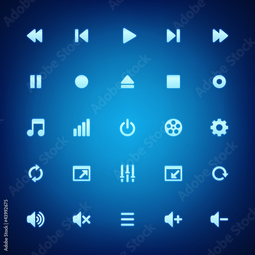 Media player vector icons set