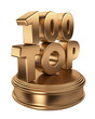 Top 100 on podium. 3D icon isolated on white background