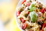 cold pasta salad with tuna tomatoes and olives