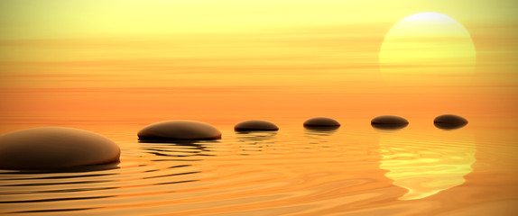 Zen path of stones on sunset in widescreen