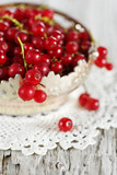 Red currant in the metallic basket