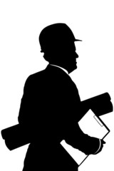 A silhouette of a construction worker with helmet holding bluepr