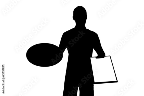 A silhouette of a delivery boy with clipboard delivering a pizza