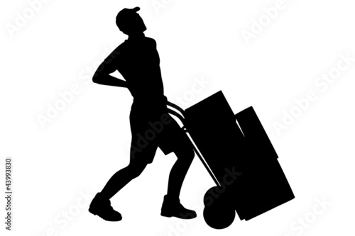 A silhouette of a full length portrait of a delivery boy, suffer