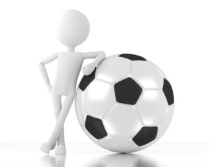 3d person stands and leans on a soccer ball.