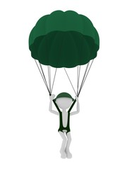 3d military parachutist person, parachuting.